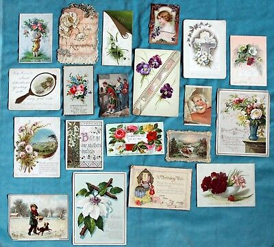 Collection Of 20 Victorian Edwardian Antique Greetings Cards
