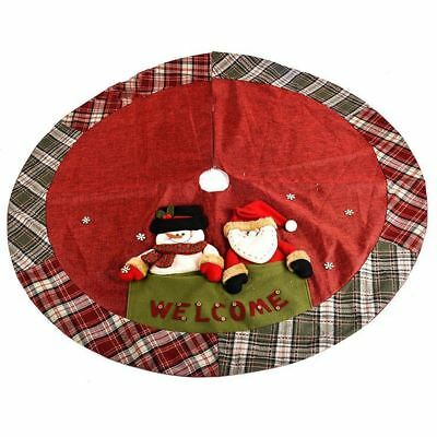 Chic Gift Large Snowman Perfect Christmas Tree Skirt With Plaid Trim- (48-Inch)