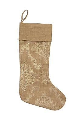 Heritage Lace Burlap Damask Stocking, 8 by 18-Inch, Gold - 100-Percent Jute New