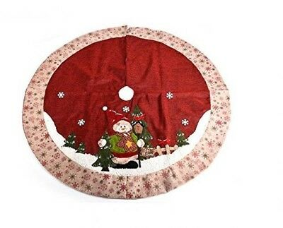 """Chic Gift Large Snowman Christmas Tree Skirt with Snowflake Floral Rim, 48"""""""
