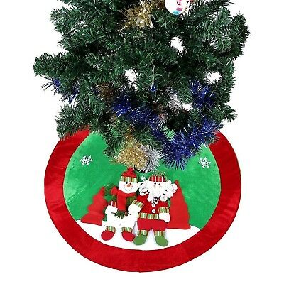 Ohuhu 36- Inch Santa Claus And Snowman And Christmas Tree Skirt - French Version