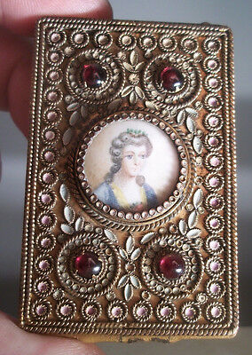 antique Victorian brass & ENAMEL  france hand painted woman's compact / purse