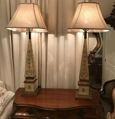 Pair Of Vintage/antique Italian Florentine Ivory/gold Wooden Lamps!!!!