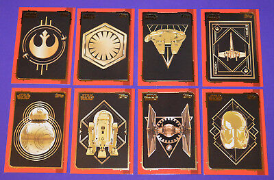 Topps STAR WARS Journey to The Last Jedi ~ GOLD Full Set (all 8 cards; 161-168)
