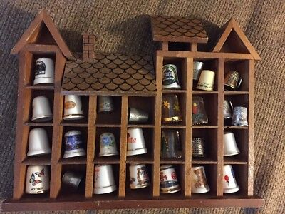 Vintage Thimble Lot Wooden Holder Display Wall Case