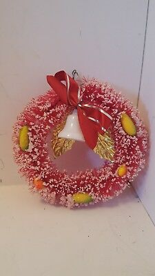 """Vintage 4"""" Red Brush Decorated CHRISTMAS WREATH Ornament"""