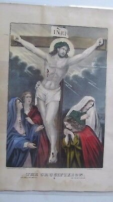 RARE Antique Victorian 1858 HAND COLORED Religious CURRIER PRINT, Crucifixion