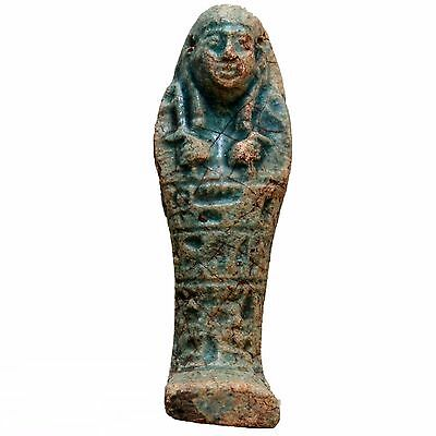 PTOLEMAIC PERIOD ANCIENT EGYPTIAN BLUE FAIENCE SHABTI CIRCA 300 BC collect