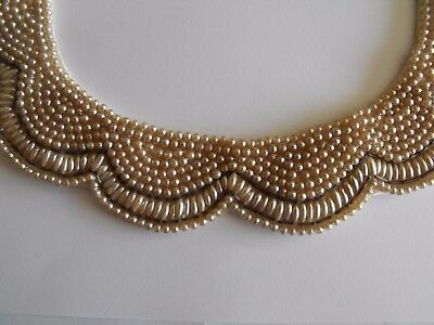 Vintage 1950's Faux Pearl Bead Scalloped Collar - Handmade in Japan