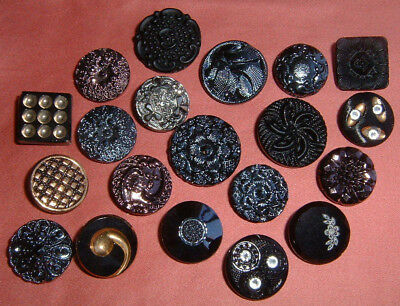 20 Beautiful Vintage Black Glass Buttons-Gold Copper Silver Luster Rhinestones