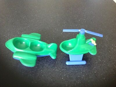 Vintage Weebles Green And Blue Aeroplane And Green And Blue Helicopter