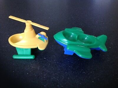 Vintage Weebles Yellow And Green Helicopter  And A Green And Blue Aeroplane
