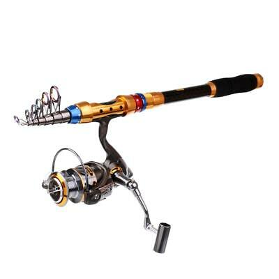 2.4m Fishing Rod and Reel Telescopic Fishing Rod with Spinning Reel Combo
