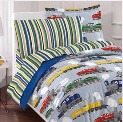 New Trains Dream Factory Kids Boy Complete Full Size 5 Pc Bed Set Primary Color