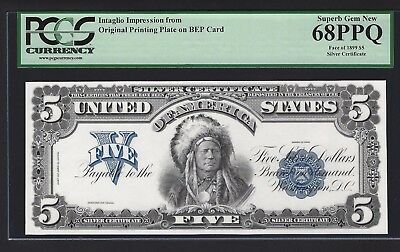 1899 $5 Silver BEP Intaglio Impressions Face & Back Both PCGS 68 PPQ Chief Note