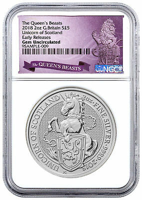 2018 G. Britain 2 oz Silver Queen's Beasts - Unicorn £5 NGC GEM BU ER SKU49480