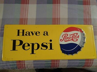 Vintage 1958 PEPSI COLA TIN SODA SIGN,  31 x 12 inches !!  Very cool ..