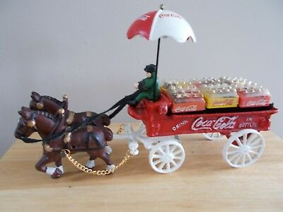 Coca Cola Cast Iron Horse Drawn Wagon with Coke Cases and Bottles,