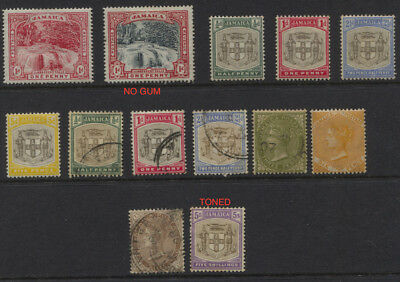 Jamaica 1900- 1909 MH / Used Values to 5/- ( Toned ) CV $185+