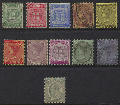 Jamaica 1906 - 1911 QV / EDVII MH / Used Selection to 2/- CV $85.35