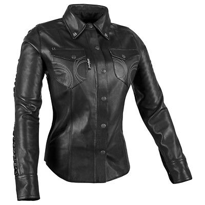 Speed & Strength Black Heart Womens Long Sleeve Leather Shirt Black