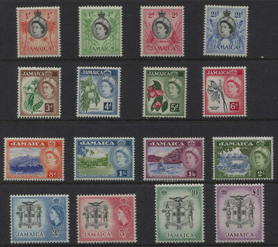 Jamaica 1956 QEII Definitive Set Sc #159 - 174 MLH CV $92.85