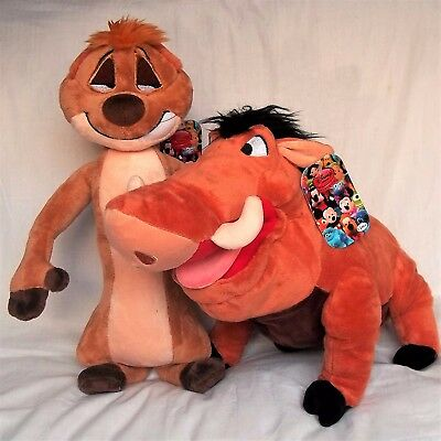 DISNEY TIMONE and PUMBAA MEDIUM SOFT PLUSH TOY SET  -  THE LION KING