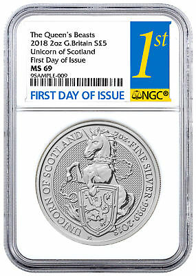 2018 Great Britain 2 oz Silver Queen's Beasts Unicorn £5 NGC MS69 FDI SKU49484