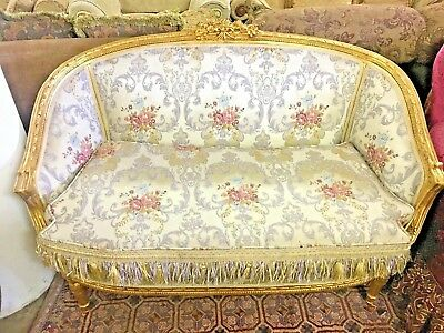 French Style Brocade Sofa Love Seat In Hand Carved Gold Leaf