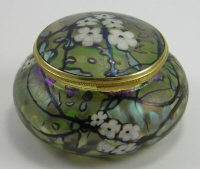 Vintage Okra studio iridescent glass trinket jewellery box Richard P Golding
