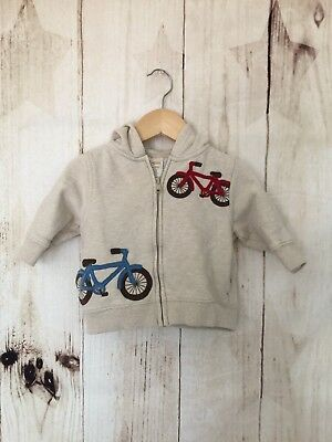 Gymboree Baby Boy Sweater Size 6–12 Months Ivory Hooded Bicycle Print
