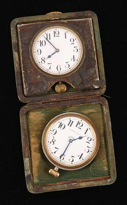 Vintage 2 Doxa 11 Jewels and 6 jewels, 8 Day Travel Clocks with Leather Case