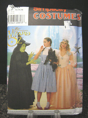 Simplicity 7808 WIZARD OF OZ Halloween Costume Sewing Pattern Uncut 12-16 Adult