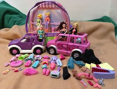 Polly Pocket bundle - Fashion Polly + Dare to Hair Stretch limo + car & clothes