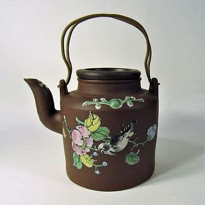 Antique Chinese Yixing Pottery Enameled Teapot Tea Pot