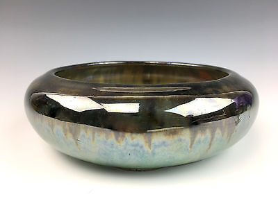 FULPER POTTERY Bulb Bowl in Mirrored Black over Green Flambe Glaze NICE!
