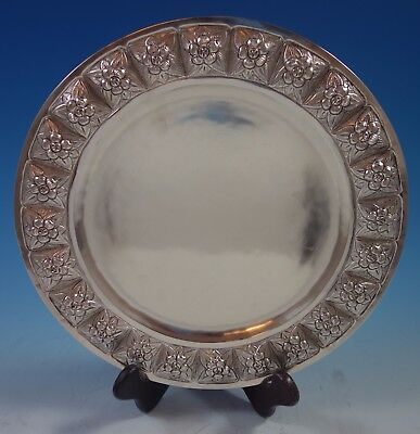 "Aztec Rose by Sanborns Mexican Sterling Silver Charger Plate 11"" 19.9 ozt. #1768"
