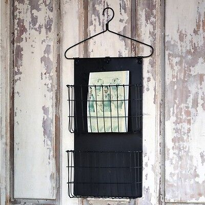 BLACK METAL Wire Coat Hanger WALL ORGANIZER~Wall Pocket~Farmhouse Decor