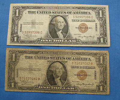 *two Decent 1935 $1.00 Hawaii Silver Certificate Notes*