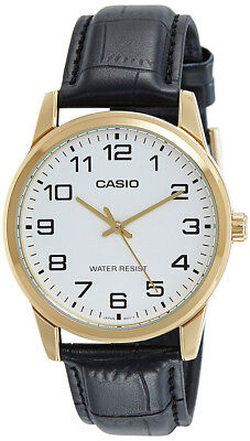 Casio Men's Quartz Gold Tone Stainless Steel Black Leather Watch MTPV001GL-7B