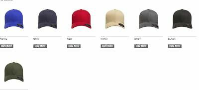 d2aa87570aa FLEXFIT MENS STRUCTURED Brushed Fitted Twill Cap Blank Hat S M L XL ...