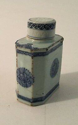 ANTIQUE CHINESE PORCELAIN BLUE AND WHITE TEA CADDY JAR 1780's