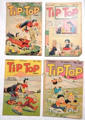 P936. TIP TOP COMICS #97 #101-103 United Features 2.0 GD (1944) GOLDEN AGE