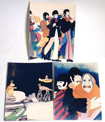 P908. Vintage Lot of 3: THE BEATLES YELLOW SUBMARINE Promo Pictures on Cardboard