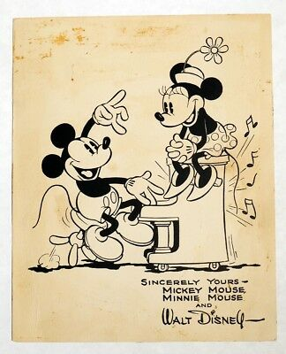 M256 Walt Disney Sincerely Yours MICKEY & MINNIE MOUSE Early FAN CARD (1930's) [