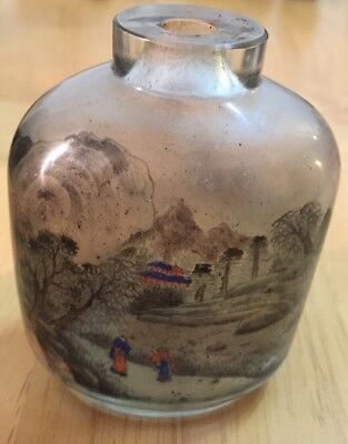 Antique Glass Snuff Bottle Painted Inside Mountain Scene