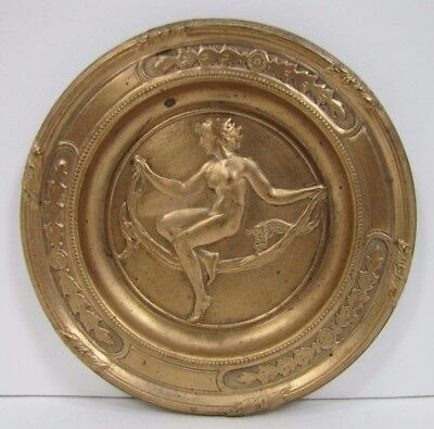 Antique Art Nouveau Nude Beauty Tray Beautiful Woman Ornate Brass High Relief
