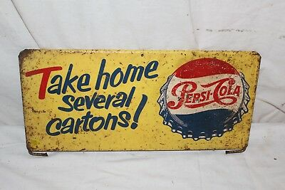 "Vintage 1950's Pepsi Cola Soda Pop Bottle Cap Gas Station 14"" Metal Sign"