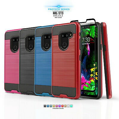 FOR [LG G7 ThinQ] PHONE CASE [PROTECH SERIES] HYBRID COVER +BLACK TEMPERED GLASS