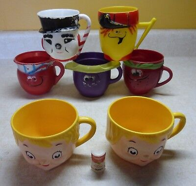 Lot of 8 Child's Mugs Cups  Kool Aid Funny Face  Snow Man  Campbells Soup